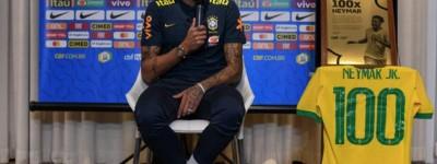 Homenageado pelos 100 jogos pela Seleção,atacante Neymar diz:ter  'Saldo positivo'!