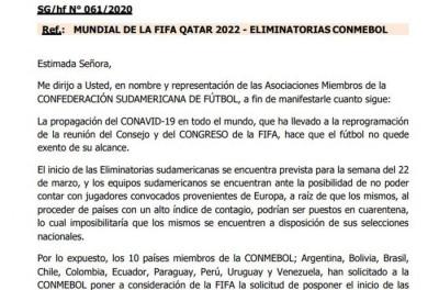 Conmebol anuncia que duas primeiras rodadas das Eliminatórias serão adiadas pelo o covid19